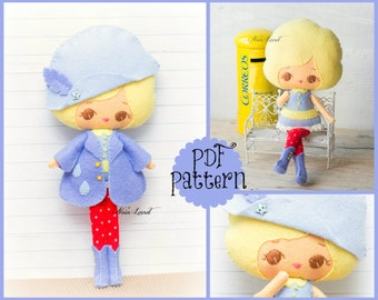 PDF. Sweet girl pattern. Plush Doll Pattern, Softie Pattern, Soft felt Toy Pattern.