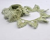Crochet Border Trim - Lace - Cotton - Handmade Edging - Lime Green - One Yard