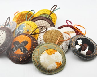 Felt Ornaments - Home Decor - Pincushions - Colorful - Hand Sewn - Embroidered - Fall Colors -