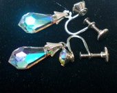 Vintage1930s Earrings Screw Back Teardrop AB Crystal Drop Faceted Bride Art Deco Dangles Retro Sparkling Bridal Statement