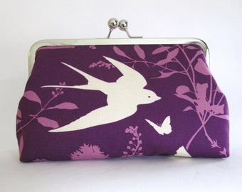SALE,Whimsical Swallow In Lavender Clutch,Bridal Accessories,Bridesmaid Clutch, Bridal Accessories