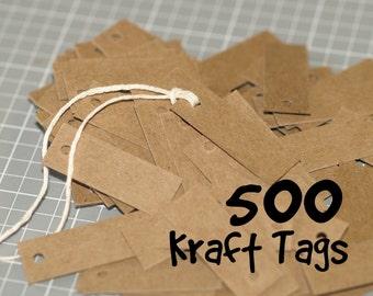 "500 Mini Kraft Tags ... .5"" x 1.5"" Chipboard Light or Medium Weight Small Tags Price Tags Jewelry Tags Seller Supplies Bulk Quantity"