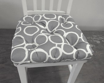 Set of 2, 4, 6, 8 tufted chair pads, seat cushions, bar stool cushions, grey and white free hand circles