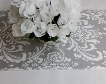 Wholesale lot 12 Wedding party tablerunners, wedding decorations, grey and white, cotton ozborne damask fabric,