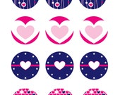 Valentine's Day Heart Cupcake Toppers - 4 designs - INSTANT DOWNLOAD