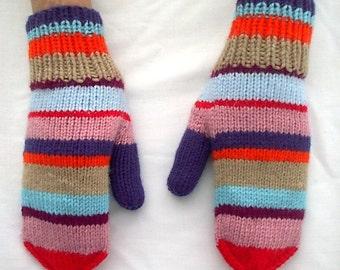 Mittens Hand Knit Striped Retro Blue Orange Pink Red Women Ladies Teens
