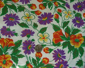 Vintage FEEDSACK Cotton Quilting Fabric - STILLaSACK - PURPLE Yellow and Orange Flowers   - 28 x 40