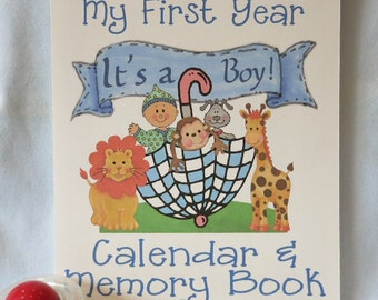First Year Monkey Baby Calendar and Memory Book for Baby Boy