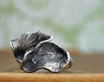 sterling silver ring, GINKGO LEAVES, sterling silver leaf ring, ginkgo leaf ring, solid cast sterling silver ring
