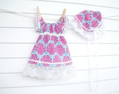 Baby Girl Easter Dress, Newborn 0-3mo, Blue and Fuschia with White Lace, Matching Bonnet