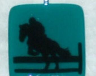 Fused Glass EquestrianPendant - green and black
