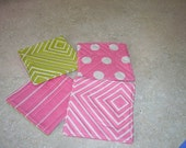 Coasters, bright pink and green set of 4