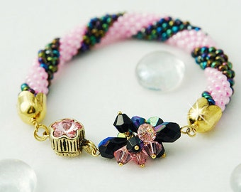 Seed Beads Crochet  Bracelet  with Swarovski Crystals Sunset on the beach 2