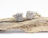 Titanium Geode Cufflink -- Sliver