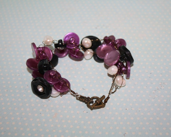 Crocheted Wire Bracelet with Vintage Buttons and Pearls