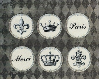 Stickers, French Themed, Crown Stickers, Fleur de lis