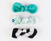 Be Bold Spring set stripes, mint, floral  knot bows set of 4 baby girl accessory