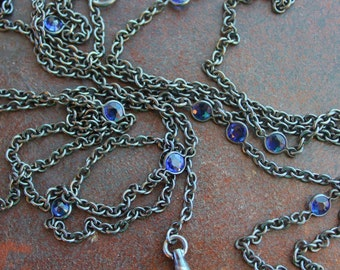 Long Victorian Gunmetal and Sapphire Paste Necklace / 59 Inches