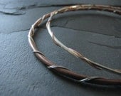 Copper and Silver Bangle Set - Wire Wrapped - Metal Contrast