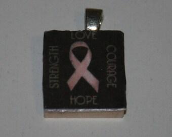 Breast Cancer Awareness Scrabble Tile Pendant