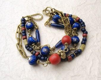 Blue Chunky Multi Strand Bracelet   - Brass Chain Bracelet - Boho Beaded Bracelet - Cobalt Millefiori Trade Beads - OOAK