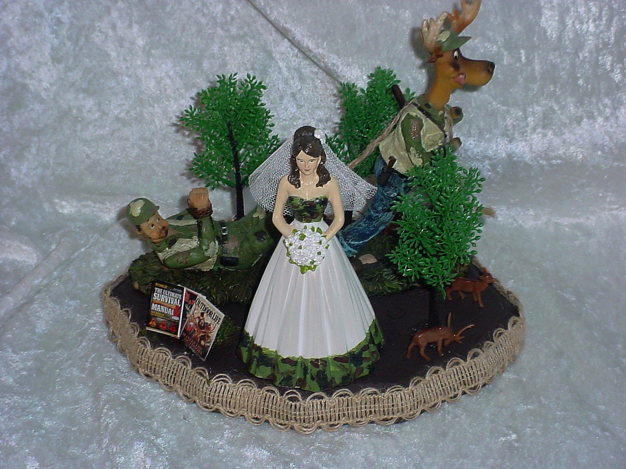 Deer pulling Redneck Hunter Groom Green Camo Wedding Cake