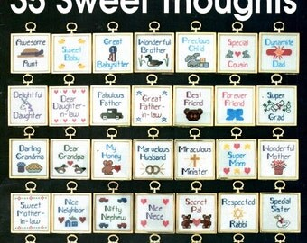 35 Sweet Thoughts Key Chain Refrigerator Magnet Bag Tag Friends Family Neighbors Counted Cross Stitch Embroidery Craft Pattern Leaflet 448