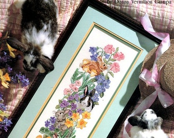 Spring Gathering Rabbits Flowers Daffodils Poppies Daisies Violets Counted Cross Stitch Embroidery Pattern Craft Leaflet 2378 Leisure Arts
