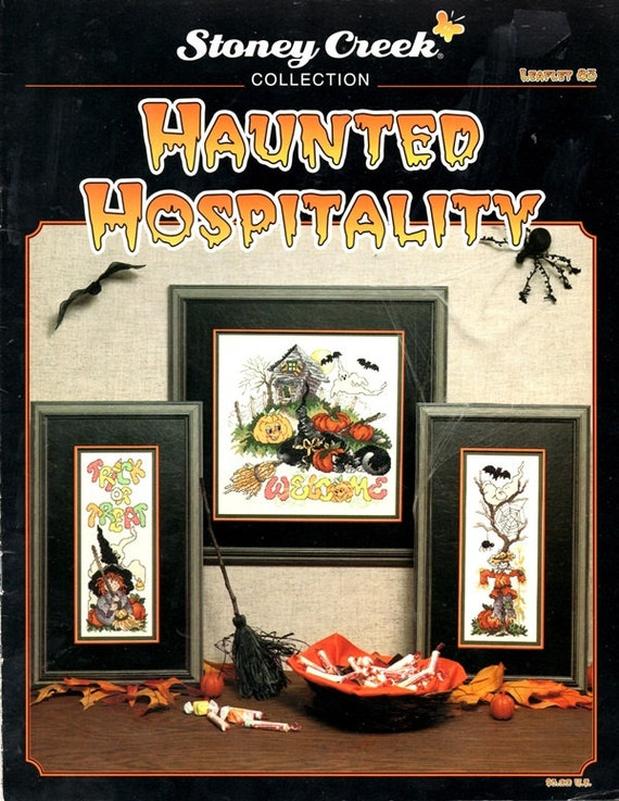 Haunted Hospitality Halloween Ramshackle House Black Bats Scarecrow Spider Witch Broom Counted Cross Stitch Embroidery Craft Pattern Leaflet