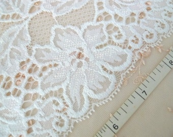 White stretch lace Elastic lace Lingerie lace Floral lace Embroidered lace 3 yards WT242