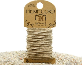 Natural Twine Cord,  1mm Hemp Cord, 20lb,  6 Meters,     Hemp Fiber -HC120