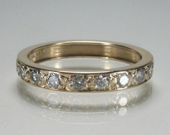 Vintage Diamond Wedding Band - 0.45 Carats Diamond Total Weight - Appraisal Included