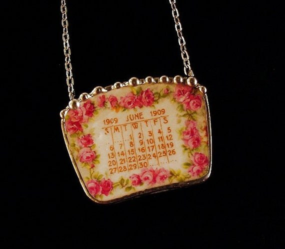 Broken China Jewelry necklace June 1909 antique calendar plate pink roses