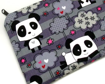Large Zipper Pouch, Pencil Pouch, Gadget Bag, Cosmetic Bag, Pandas (ZL-22)