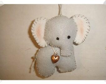 Elephant Ornament/ Felt /Handmade/MADE to ORDER**