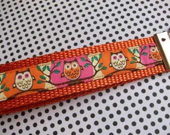 Owls on Orange and Pink Wristlet Style