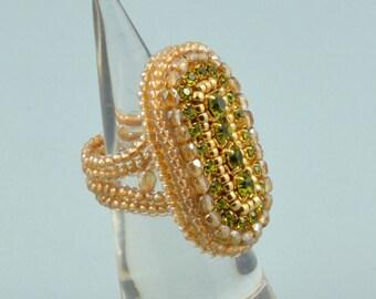 Olive Gold Swarovski Vintage Imitation Ring, Bead Embroidered Cocktail Ring, OOAK