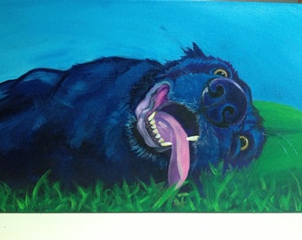 "Happy Lab 15x30"" canvas reproduction"