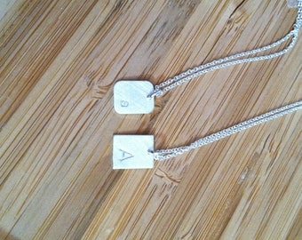 Letter / Initial Stamped Sterling Silver Necklaces -- small rectangle pendant  -- your choice of letter