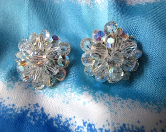Vintage Aurora Borealis Crystal  Clip Back Earrings  Mid Century Beautiful Crystal Earrings