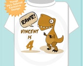 4th Dinosaur Birthday Shirt, Personalized Dino Birthday Shirt with Child's Name and age,Fourth Birthday shirt (01082014c)