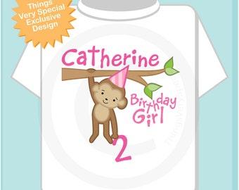 Girls 2nd Birthday Shirt, Second Birthday Monkey Shirt, Personalized Birthday Girl Monkey Shirt any Age (02192014c)