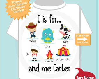 Boy's Personalized C is for Shirt or Onesie Personalized with childs name with everything that starts with C, alphabet learning (09042014e)