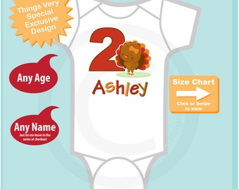 Personalized Second Birthday Turkey Tee Shirt or Onesie, 2nd Birthday Thanksgiving Theme Tee Shirt, Any Age 09112014a