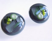 """Gray Buttons, Fused Glass Buttons, Art Buttons, Sewing buttons, knitting supplies, Grey, Green, Black, Round, 3/4"""" Set of 2"""