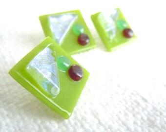 Fused Glass Buttons, Art Button, Flower Garden, green, spring green, aqua, ice blue, garnet, silver, sewing button, knitting supplies, three