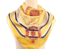 Yellow SHEER Scarf . 60s Bohemian Kerchief Delicate Romantic Flower Print Shawl Feminine Muffler Gift Unisex Urban Headscarf Retro