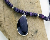 Amethyst and Sugilite Open Back Pendant in Sterling