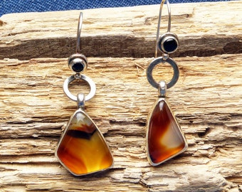 Asymetrical Agate Earrings with Custom Onyx Earwires
