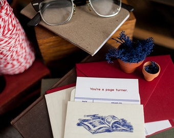 You're a Page Turner - Letterpress Library Card